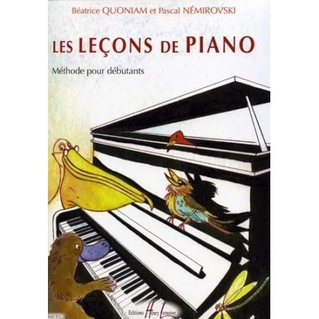Les leçons de Piano Méthode Débutants Béatrice Quoniam et Pascal Némirovski Ed Henry Lemoine