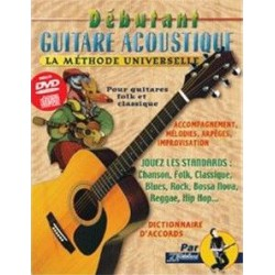 Débutant Guitare Acoustique La Méthode Universelle CD+DVD Ed Rebillard Melody music caen