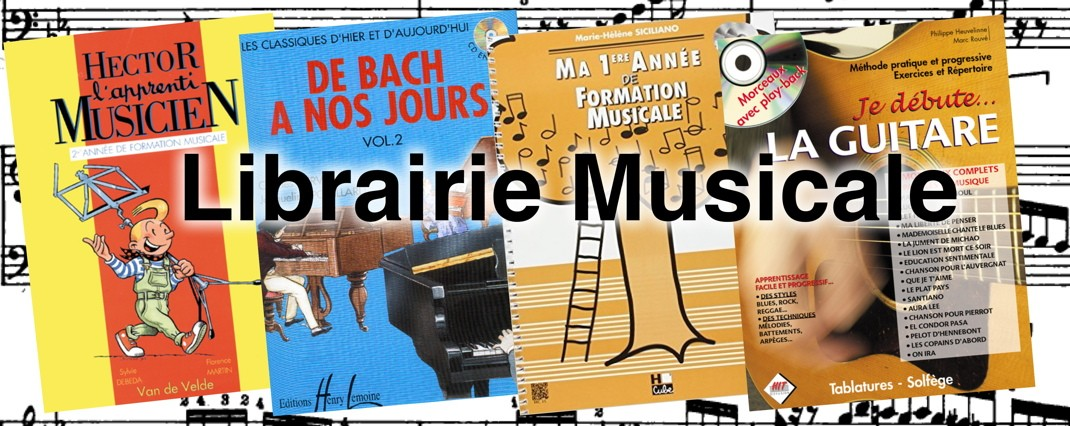 Librairie musical, solfege, partitions piano, tablature guitare, formation musicale.