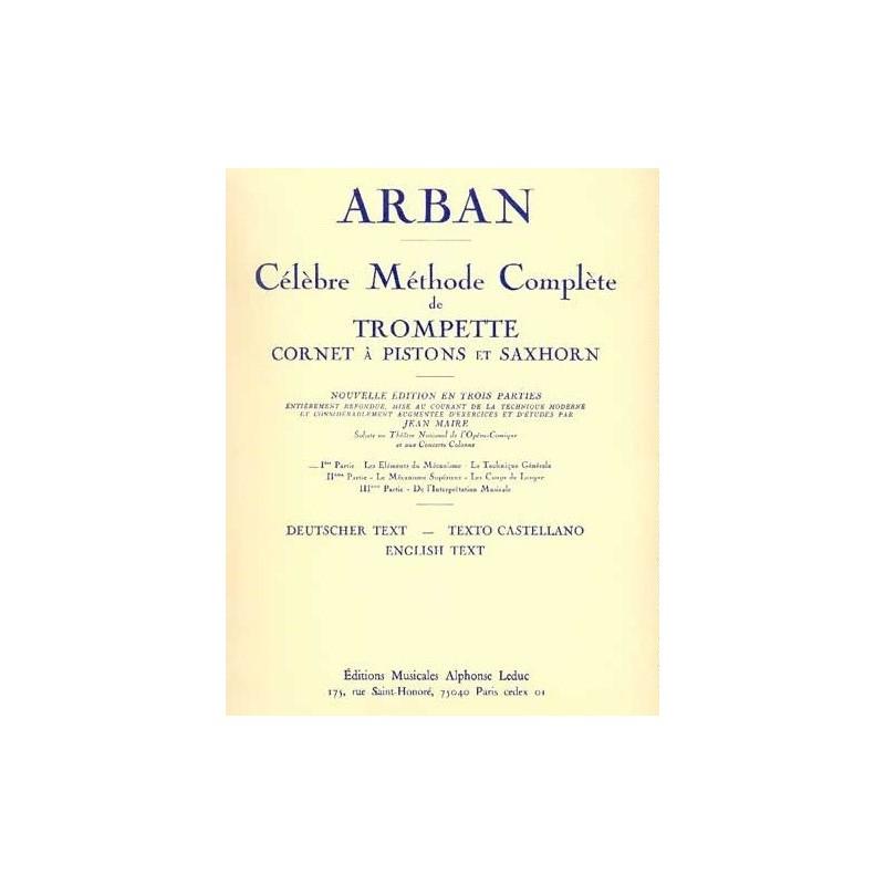 Célèbre Méthode complète de trompette Cornet à pistons et saxhorn Arban Ed Leduc Melody music caen