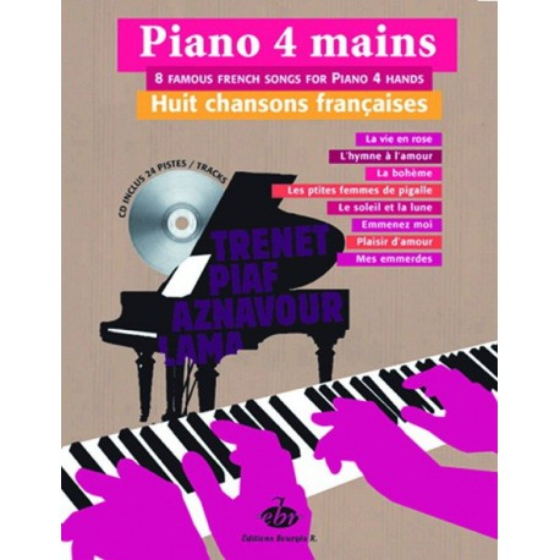 Piano 4 mains 8 chansons françaises Melody music caen