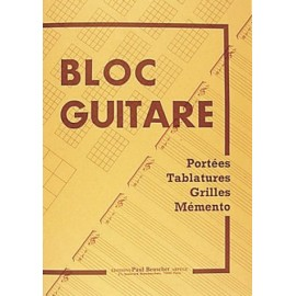 Bloc guitare portées tablature grilles Melody music caen