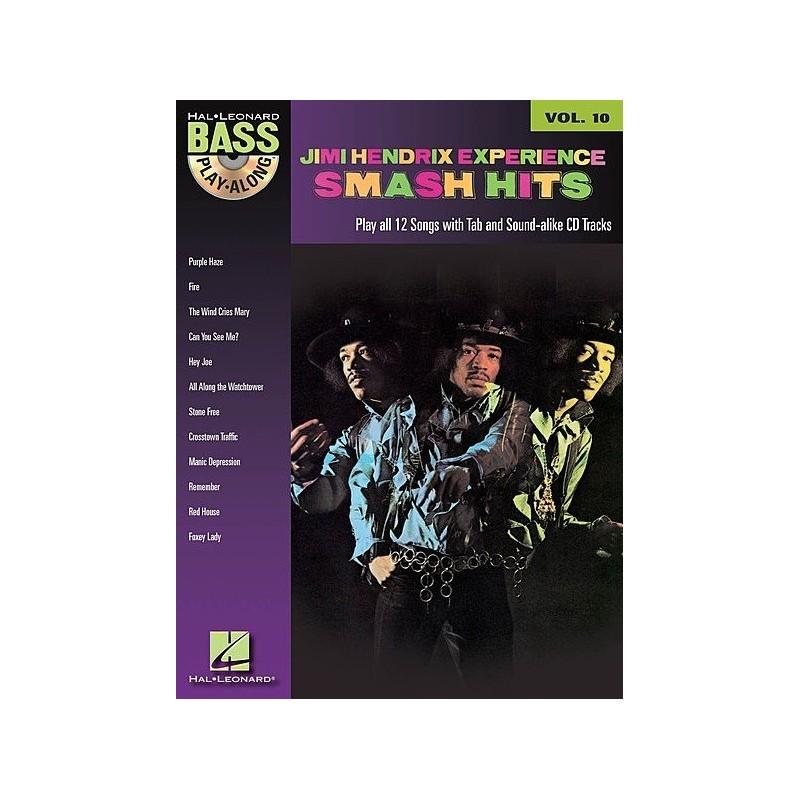 Play Along Bass Jimi Hendrix Experience Smash Hits Vol10 Ed Hal Leonard Melody music caen